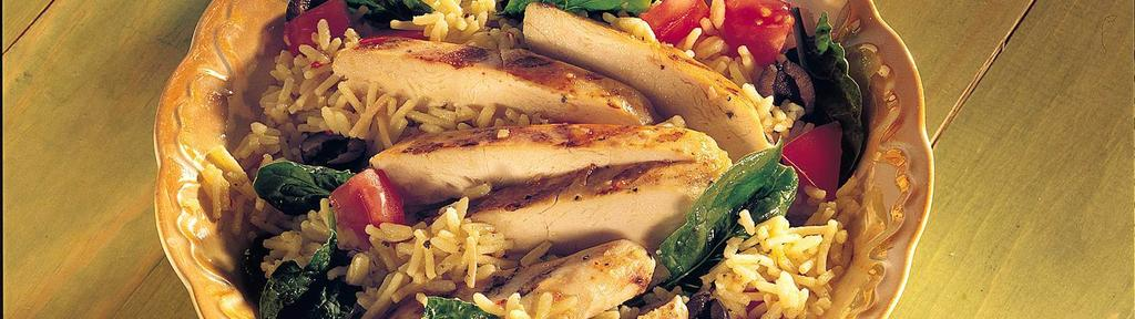 Warm Spinach and Rice Salad with Chicken