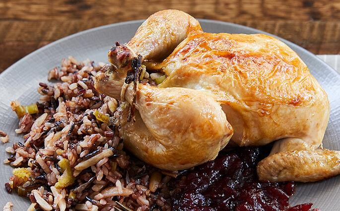 Cranberry-Glazed Cornish Hens with Wild Rice