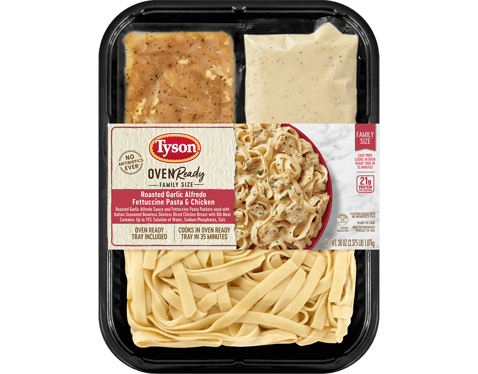 Oven Ready Family Size Roasted Garlic Alfredo Fettuccine Pasta & Chicken