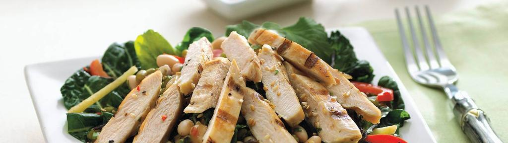 Quick Flame Grilled Chicken with Warm Bean Vegetable Salad
